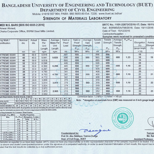 BUET Test Reports & Results Evaluate Quality of BSRM Products